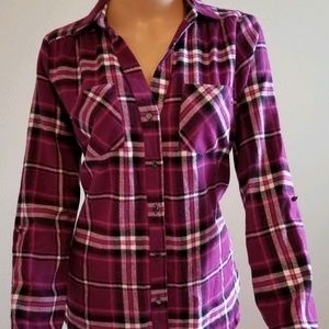 New women's Flannel Blouse Size M